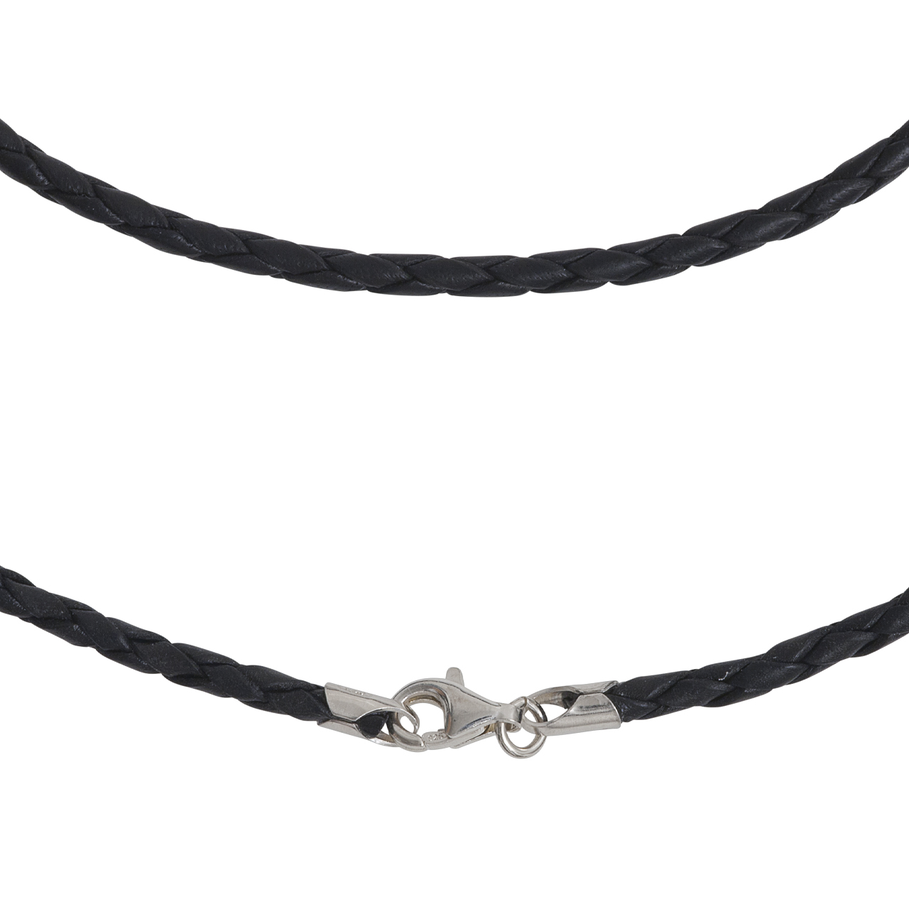 leather necklet 2mm with silver-fastener, 50cm