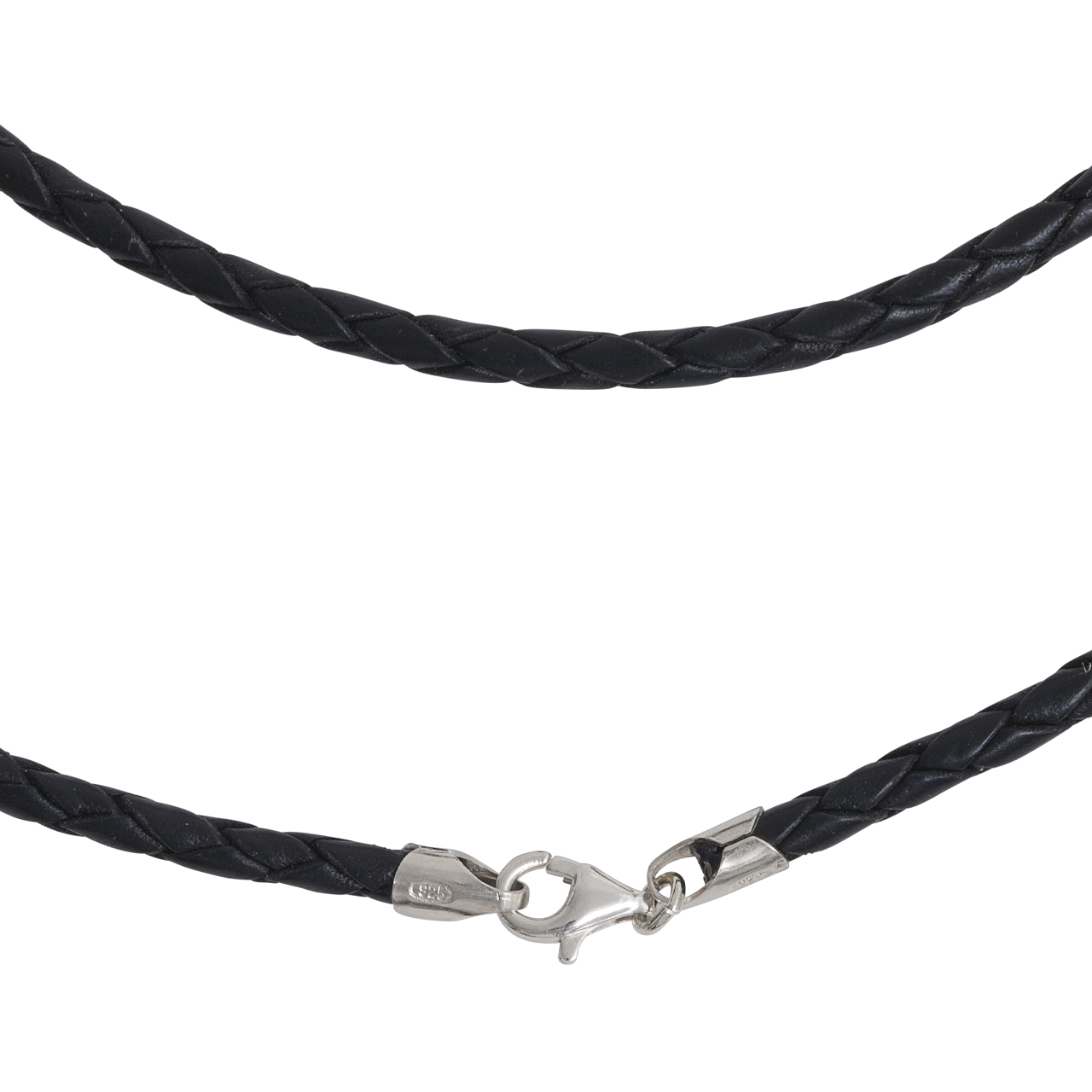 leather necklet 3mm with silver-fastener, 45cm