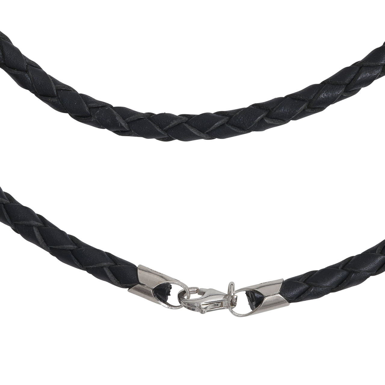 leather necklet 4mm with silver-fastener, 45cm