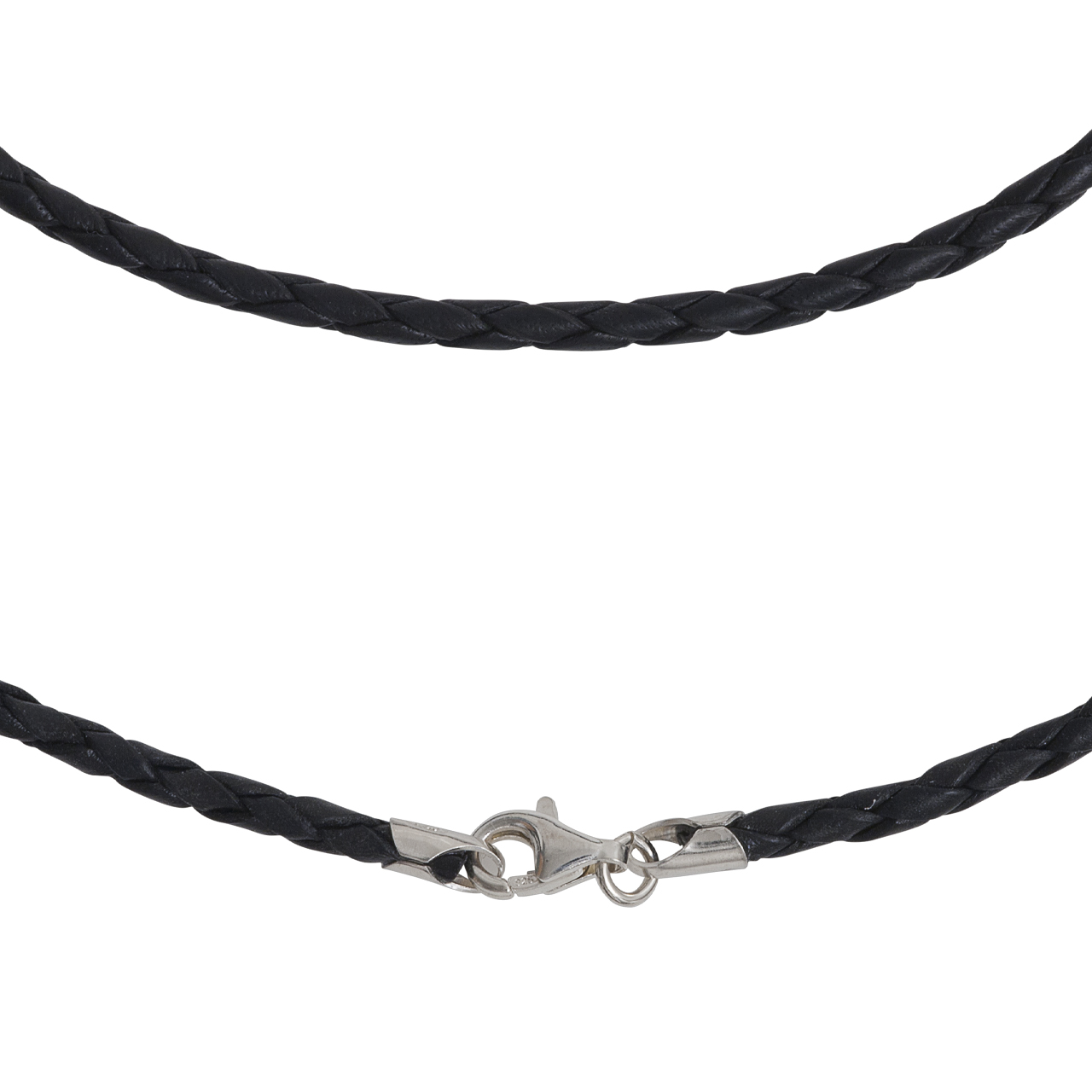 leather necklet 2mm with silver-fastener, 45cm