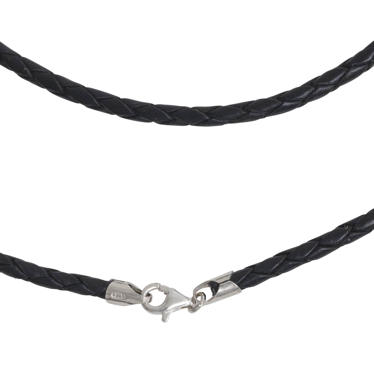 leather necklet 3mm with silver-fastener, 50cm