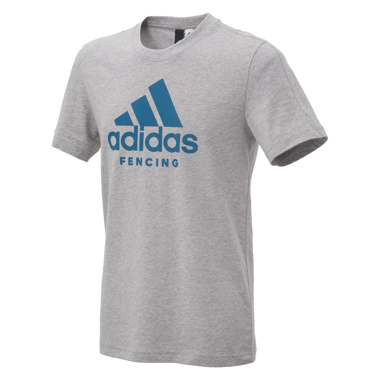 adidas T-shirt with printed logo, grey/petrol